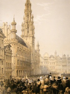 louis-haghe-1850-lg-folio-antique-print.-town-hall-brussels-belgium-[2]-92889-p